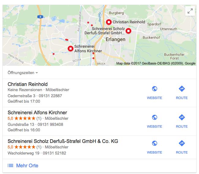Schreinerei Erlangen – Google My Business
